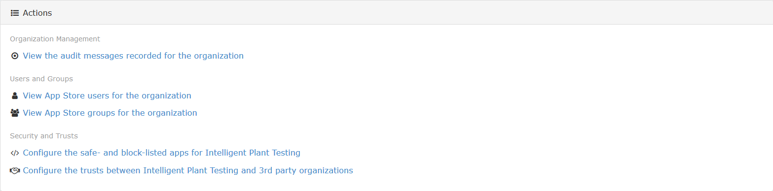 Organization portal actions (administrator view)